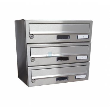 3 skrytkowa skrzynka na listy ZEWNĘTRZNA 3pl Inox