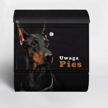 Skrzynka pocztowa z wizerunkiem psa Doberman + napis